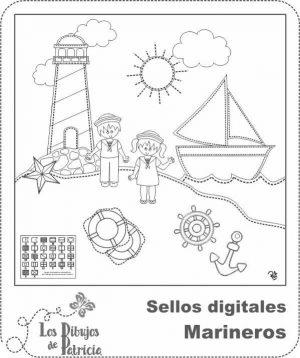 Sellos digitales de Marineros para scrap - Imprimibles | Los Dibujos de Patricia