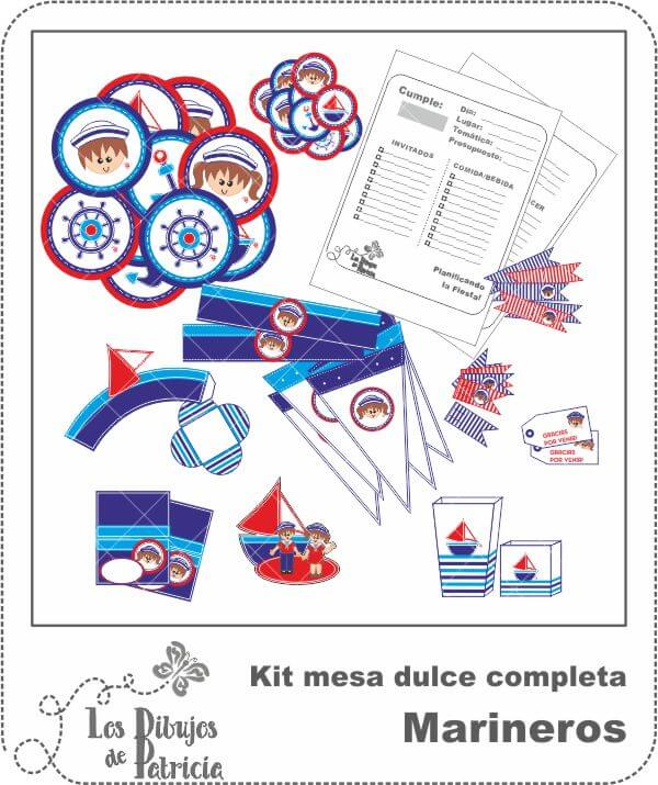 Kit mesa dulce completa de Marineros - Piezas de papel | Los Dibujos de Patricia