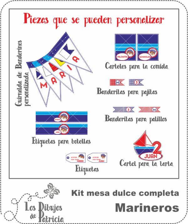 Kit mesa dulce completa de Marineros - Para personalizar | Los Dibujos de Patricia