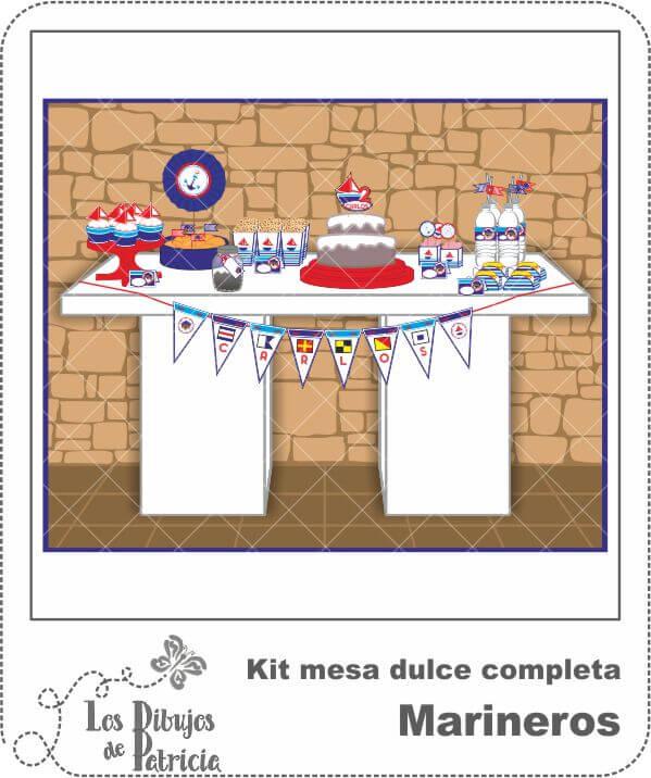 Kit mesa dulce completa de Marineros - Imprimible | Los Dibujos de Patricia