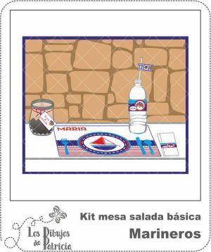 Kit mesa salada básica de Marineros - Imprimibles | Los Dibujos de Patricia