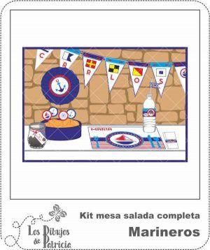 Kit mesa salada completa de Marineros - Imprimibles | Los Dibujos de Patricia